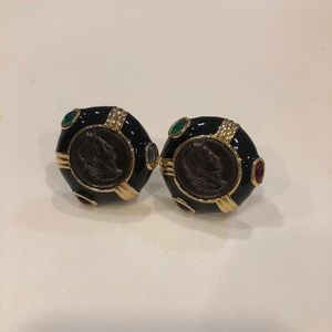Black coin earrings with colored stones